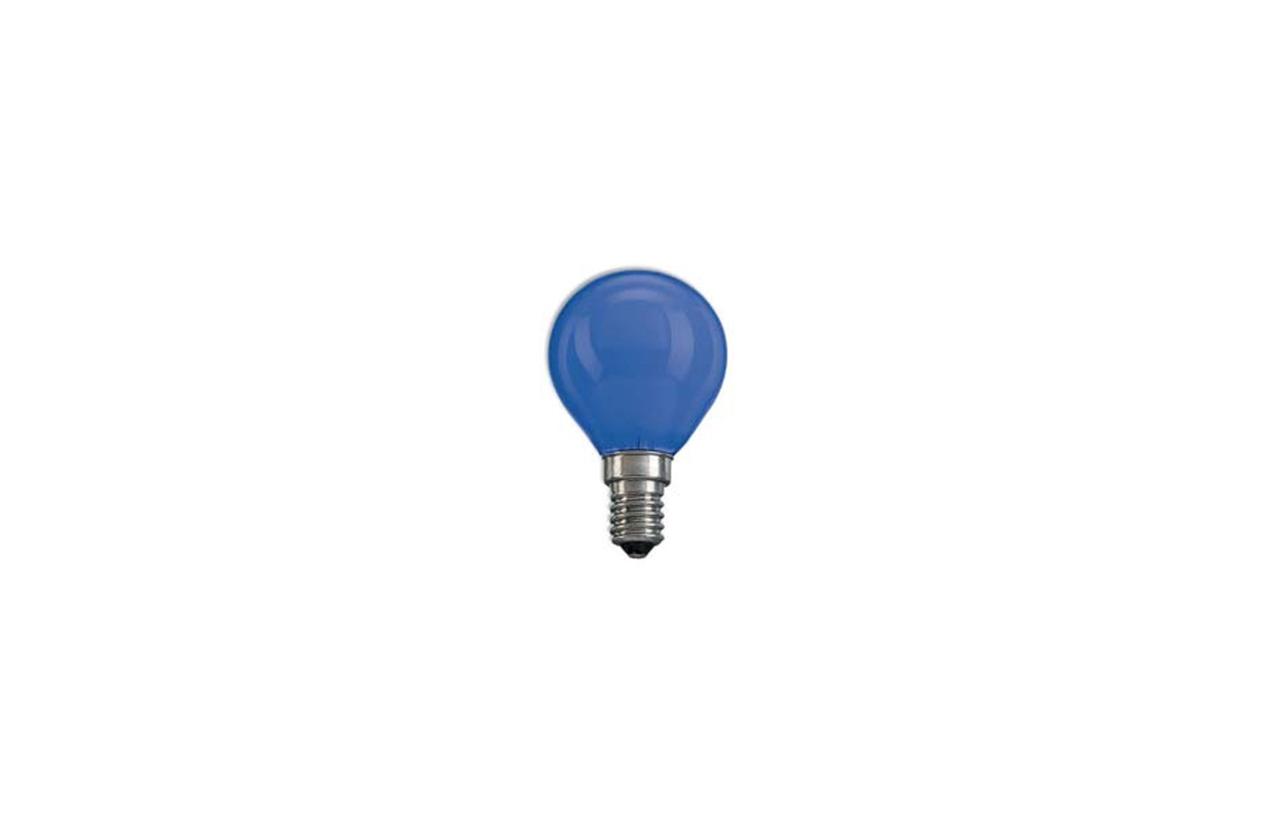 Lâmpada incandescente esférica azul E14 60W