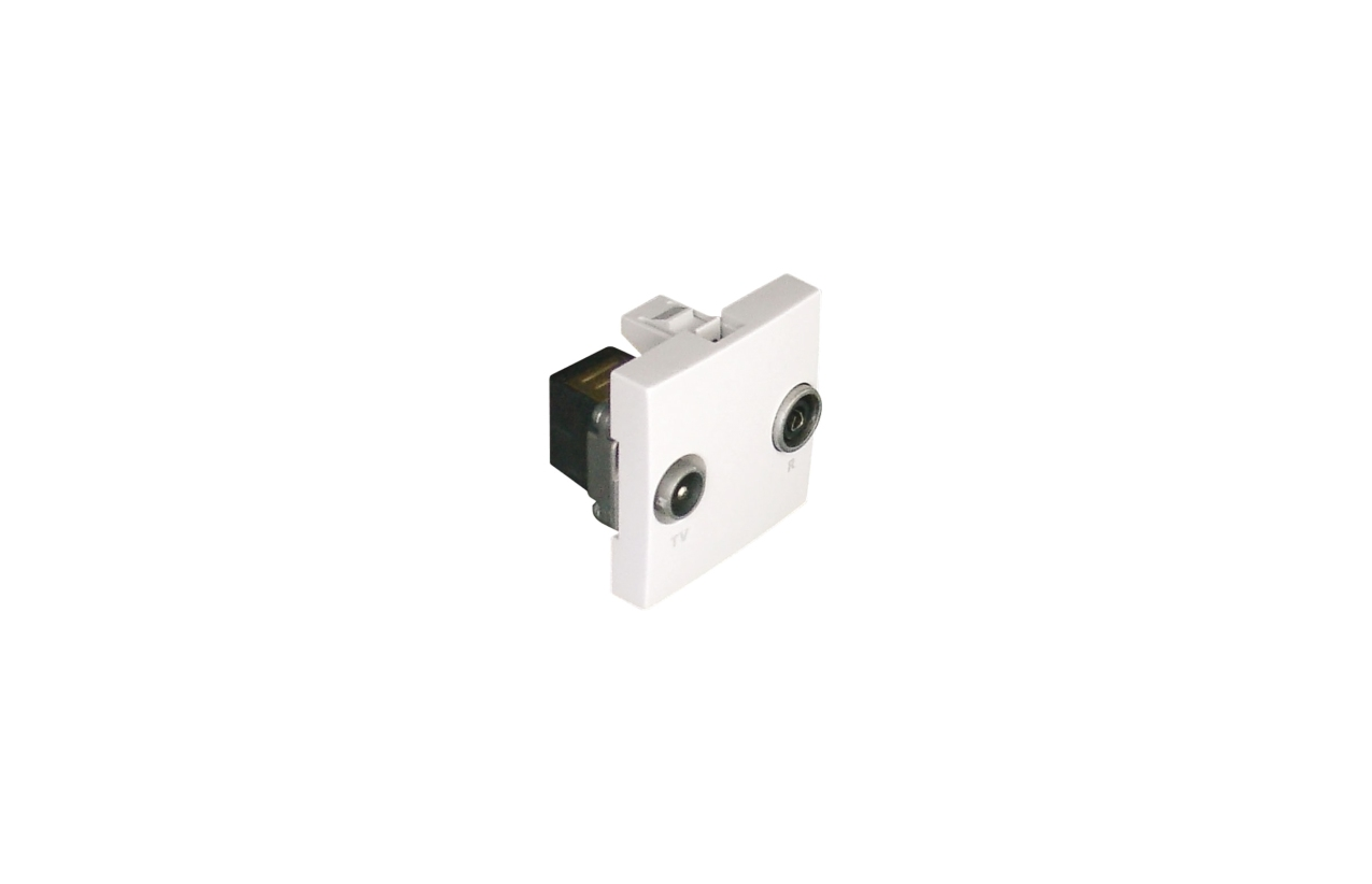 Tomada R-TV cascata (terminal), branco, 2 módulos Quadro 45