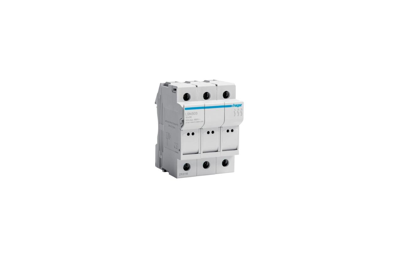 Corta-circuito 3P 32A fusível 10x38mm LSN503