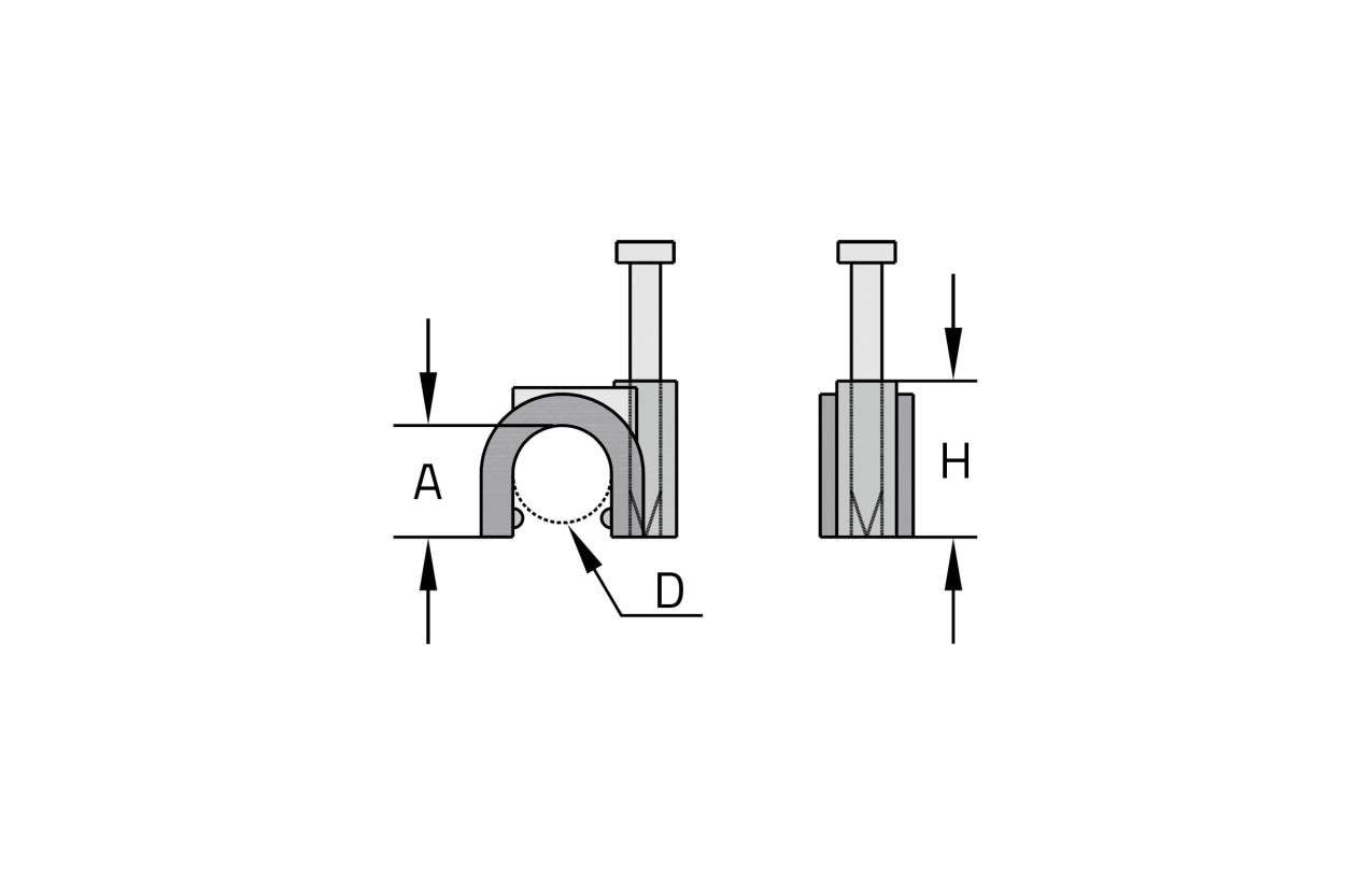 Abraçadeira curva com prego Ø6mm