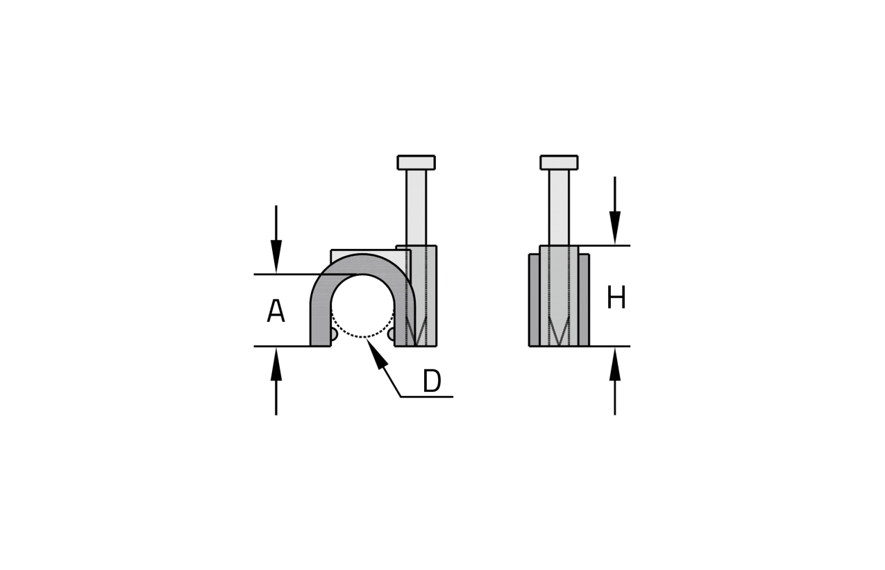 Abraçadeira curva com prego Ø14mm