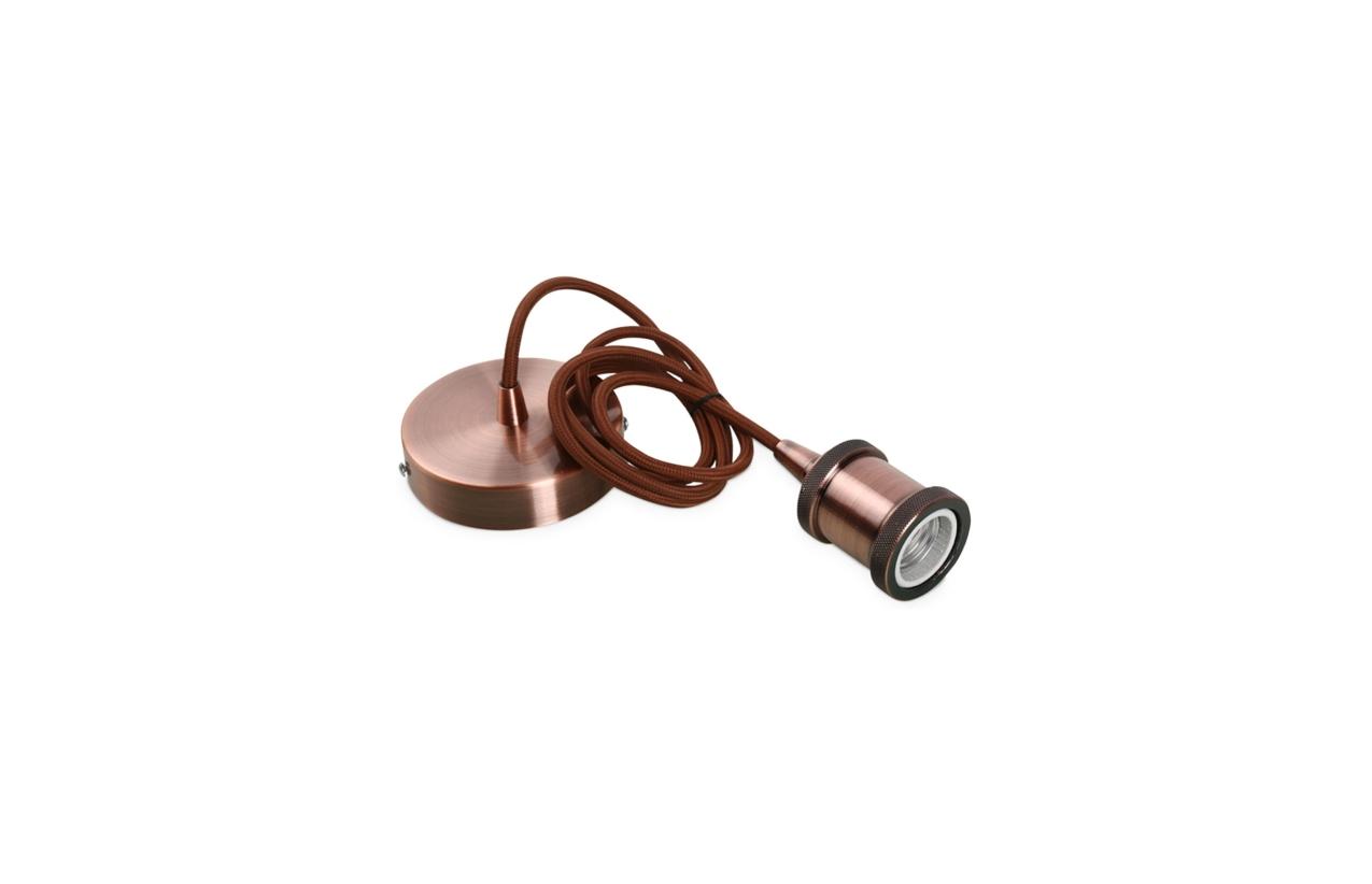 Suspensão vintage cobre E27 com cabo têxtil 1 metro