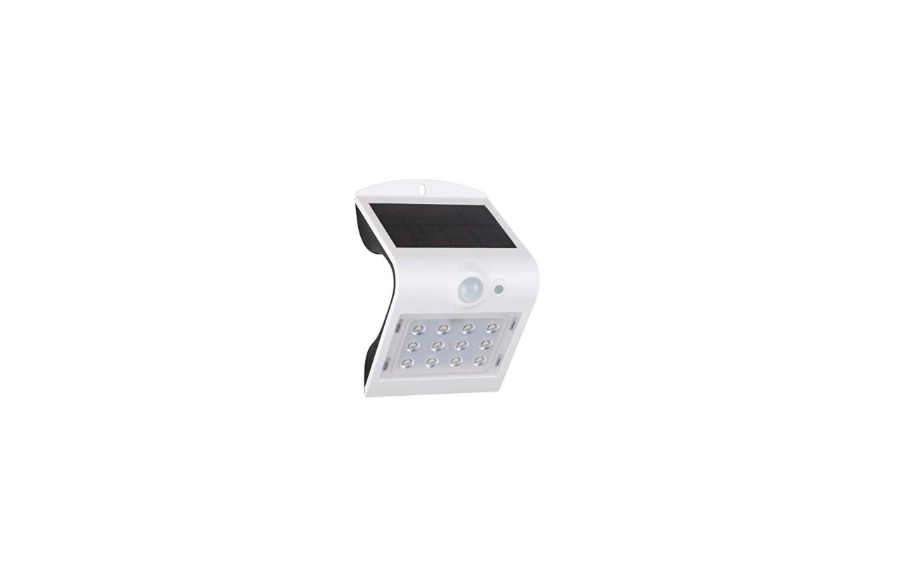 Aplique LED solar 1,5W branco com detetor movimento 8501B
