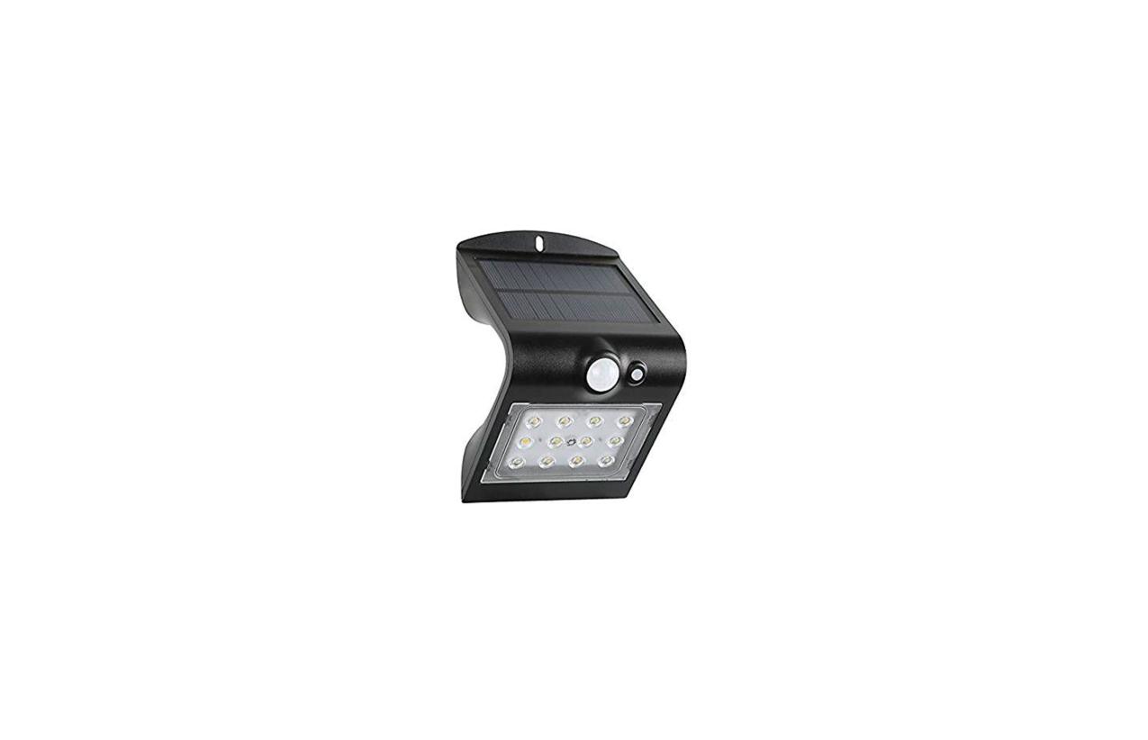 Aplique LED solar 1,5W preto com detetor movimento 8501N