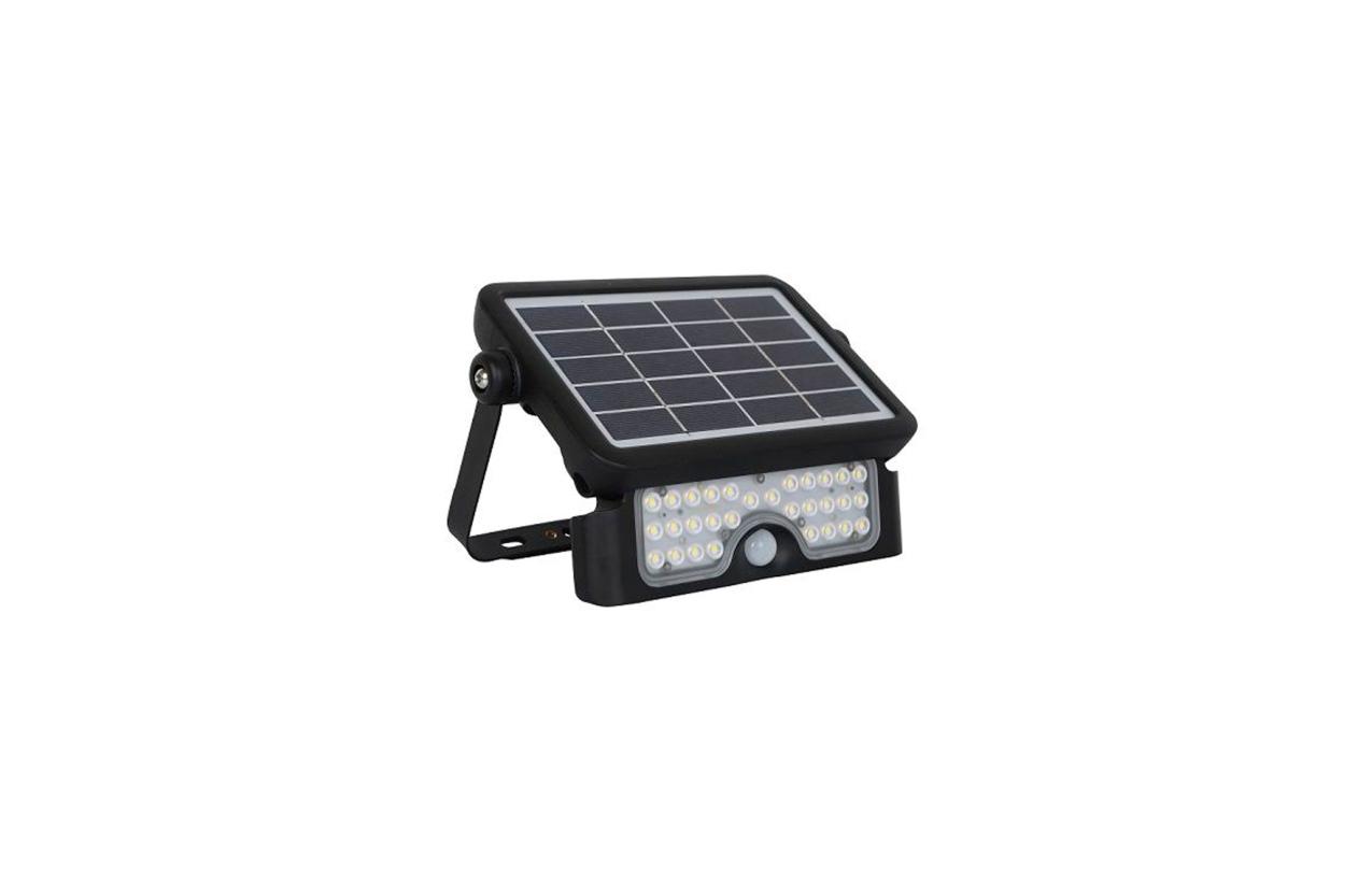 Projetor LED solar 5W preto com detetor movimento 8521N
