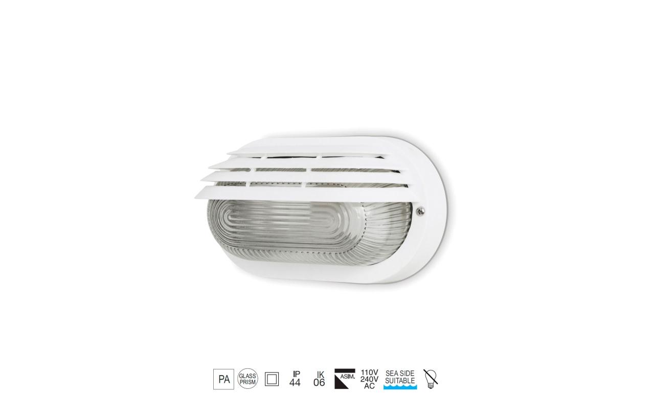 Aplique FAR oval IP44 branco 275x155mm 107H-G05X1A-01