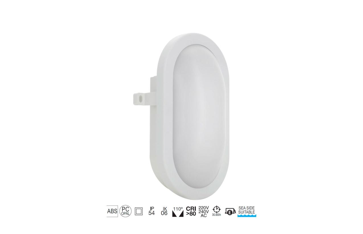 Aplique FAR oval IP54 LED 12W branco 107J-L0212B-01