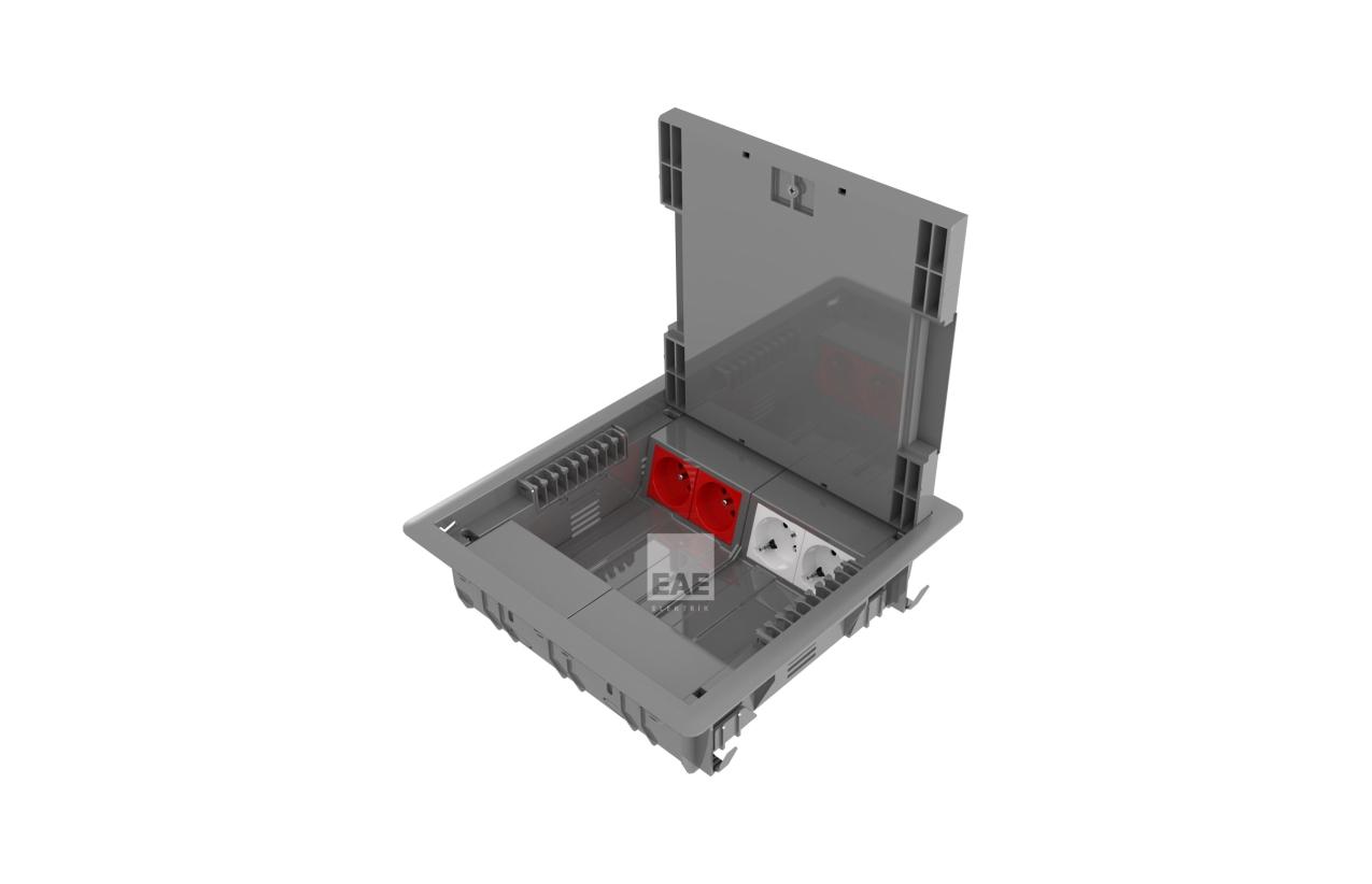 Caixa de aparelhagem com suporte e tampa (16 módulos verticiais)