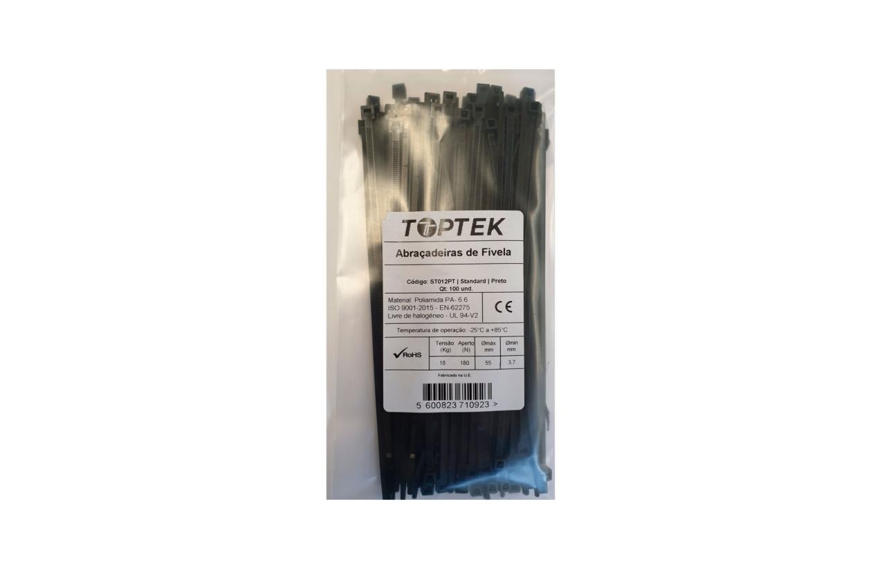 Abraçadeira de serrilha 250x4,8 mm preto com proteção UV